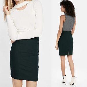 Hunter Green High-Waisted Pintucked Pencil Skirt